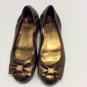 LAUREN RALPH LAUREN Bronze Leather Ballet Flats